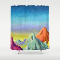 mountains Shower Curtains featuring mountains  by Robert Deutsch