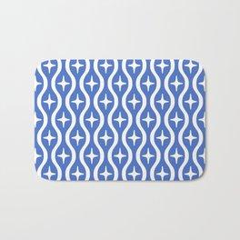 Mid century Modern Bulbous Star Pattern Blue Bath Mat