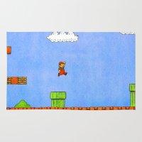 mario bros Area & Throw Rugs featuring Super Mario Bros. by Theodore Parks