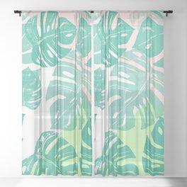 Linocut Monstera Tricolori Sheer Curtain
