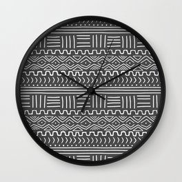 Mud Cloth on Gray Wall Clock