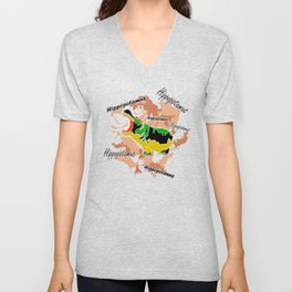 Hippopotamus Yellow/Green Unisex V-Neck