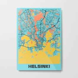 Helsinki - Finland Gloria City Map Metal Print