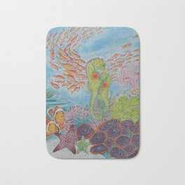Happy Seahorse Family and Ocean Friends Bath Mat