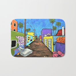 Los Angeles Alley (Original Acrylic Painting) by Mike Kraus - LA art street graffiti california Bath Mat