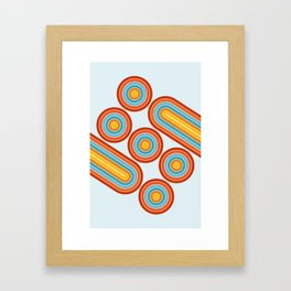 Retro Motion 2 – Orange / Yellow / Blue Abstract Stripe Pattern Framed Art Print