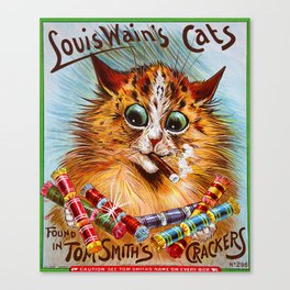 """Louis Wain's Cats """"Tom Smith's Crackers"""" Canvas Print"""