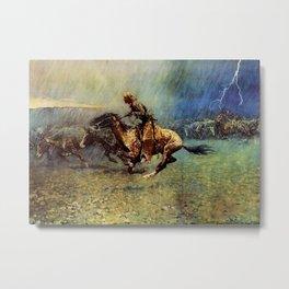 "Frederick Remington Western Art ""The Stampede"" Metal Print"