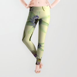 White and Purple Passion Flower Collage Leggings