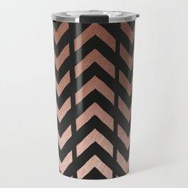 Rose gold and black chevron Travel Mug