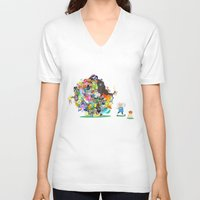 katamari V-neck T-shirts featuring Adventure Time - Land of Ooo Katamari by Sin nombre