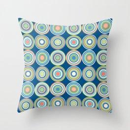 Mid Century Modern Bullseye Circles // Retro Geometric // Blue, Turquoise, Coral, Green, Peach, Ivory Throw Pillow