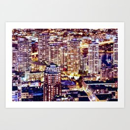 Voyeuristic 1553 Vancouver Cityscape Downtown Yaletown British Columbia Canada Hot Summer Night Art Print