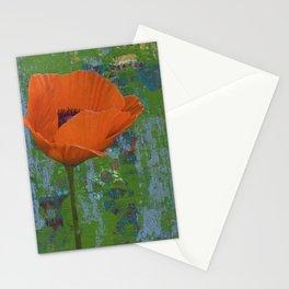 Orange Poppy on Green Stationery Cards