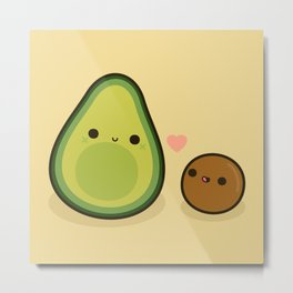Cute avocado and stone Metal Print