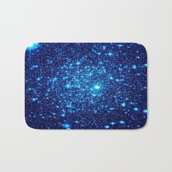 Vivid Blue gALaxY Stars Bath Mat