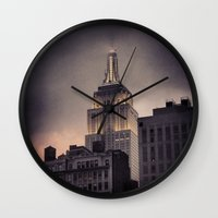 gotham Wall Clocks featuring Gotham by Amritha Mahesh