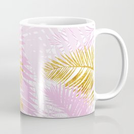 Aloha- Pink Tropical Palm Leaves and Gold Metal Foil Leaf Garden Coffee Mug