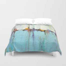 "Abstract White and Blue Painting – Textured Art – ""Sailing""  Duvet Cover"