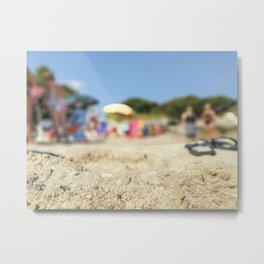 Summer life and fun in a beach in summer in Salento Italy Metal Print