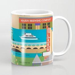 Marin County, California - Collage Illustration by Loose Petals Coffee Mug
