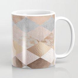 Copper and Blush Rose Gold Marble Argyle Coffee Mug