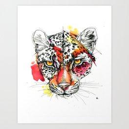 Spotted Leopard Splash Art Print