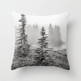 Scenic Landscape Art, Lakeside Wilderness, Fog Throw Pillow