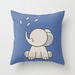 Kawaii Cute Happy Elephant Throw Pillow