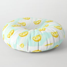 Summer watercolor oranges and marbleized design Floor Pillow