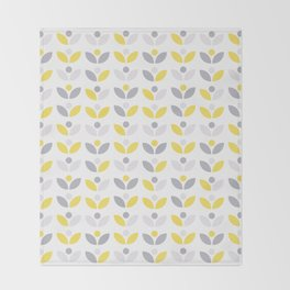 Yellow and Grey Abstract Flower Pattern #society6 #decor #buyart #artprint Throw Blanket