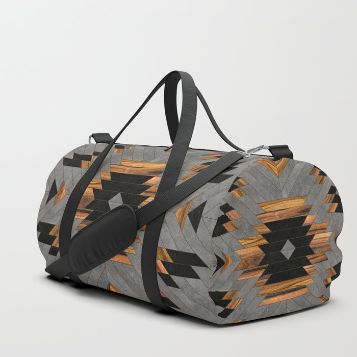 Urban Tribal Pattern No.6 - Aztec - Concrete and Wood Duffle Bag