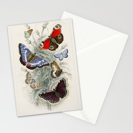 Peacock Butterfly, Camberwall Beauty, Purple Emperor, Glanville Fritillary, Grayling Butterfly, Green Hair Streak, and Silver Studded Blue Butterfly from A history of the earth and animated nature (1820) by (1730-1774) Stationery Cards