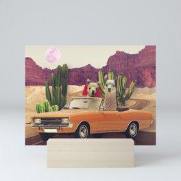 Llamas on the road 2 Mini Art Print