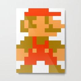 Pixel Mario Metal Print