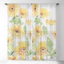 Beautiful Yellow Gerbera Sheer Curtain