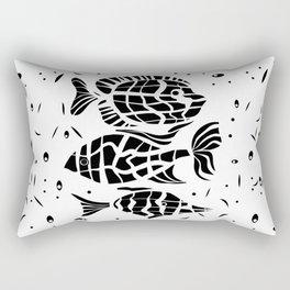 Black and white illustration . Fish . Rectangular Pillow