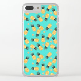 Tropical Pineapple Summer Pattern Clear iPhone Case