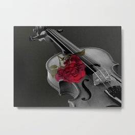 Black White Violin Red Rose Musical Instrument Art A507 Metal Print