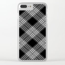 Black And White Tartan Plaid Clear iPhone Case