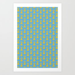 French Country Blue and Gold Ermine Spots Patterned Print Art Print