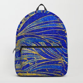 Lapis Lazuli and gold vaves pattern Backpack