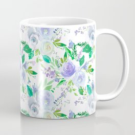Elegant lilac purple green watercolor hand painted floral Coffee Mug