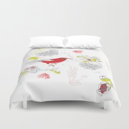 Red Ohia Lehua and Iwi Bird Duvet Cover
