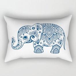 Blue Floral Paisley Cute Elephant Illustration Rectangular Pillow