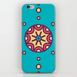 Tribal Boho Design Circle Pattern In Blue iPhone Skin