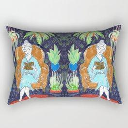 Jungle Reading Room Drawing by Amanda Laurel Atkins Rectangular Pillow