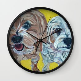 Ollie and Bailey Dog Portrait Wall Clock