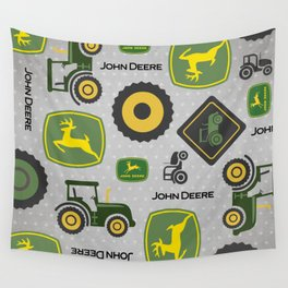 Farm Tractor - Green Wall Tapestry