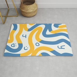 Joy in blue and yellow summer Rug